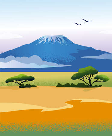 African landscape with Kilimanjaro mountain