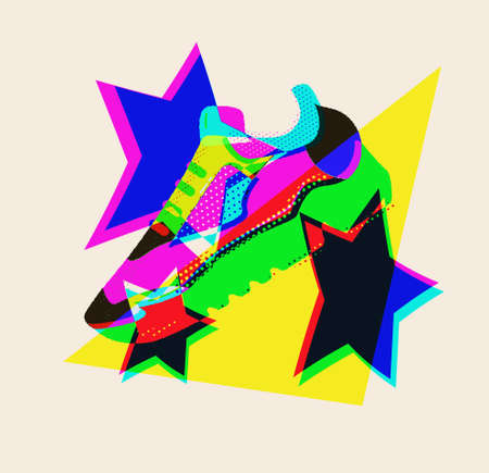 Sneaker with stars for concept design. Sport, healthy lifestyle.