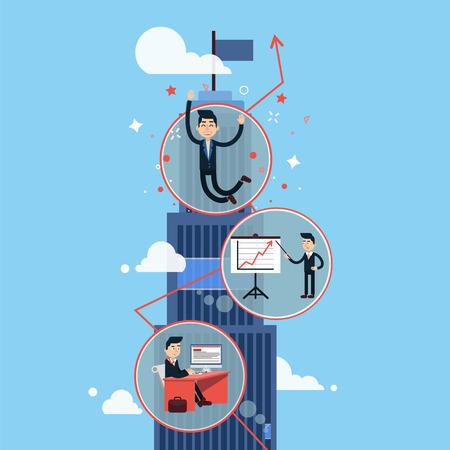 El crecimiento de la carrera - hombre de negocios con éxito - en el vector