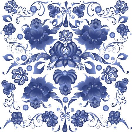 Bloemen Achtergrond in Gzhel Style - in vector