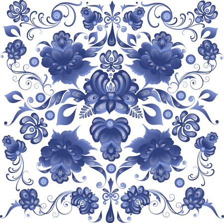 russian blue: Floral Background in Gzhel Style - in vector