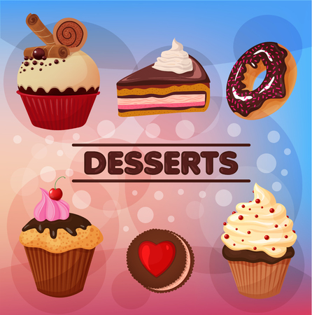 chocolate mousse: Sweet Desserts Set - in vector