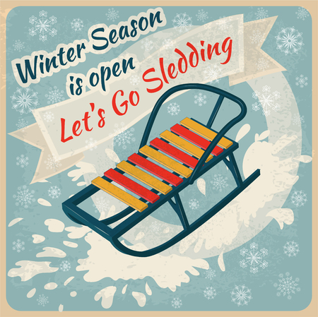 to go sledding: Winter Season. Lets Go Sledding Retro Poster - in vector Illustration