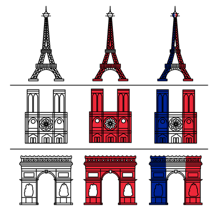 notre dame de paris: Paris Monuments Set - Eiffel Tower, Notre Dame de Paris, Arc of Triomphe