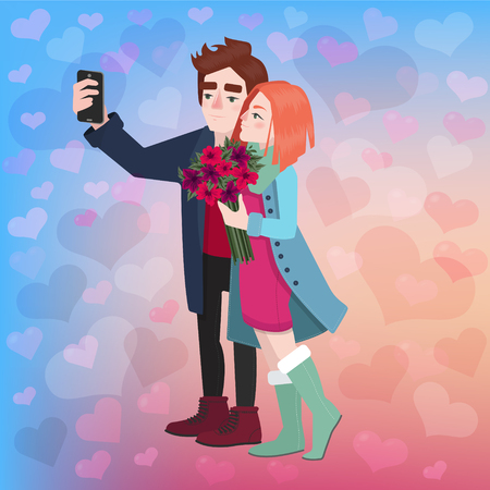 romantic couple: Valentines Day Couple Selfi - in vector Illustration