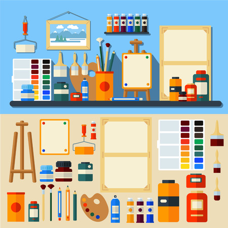 painter cartoon: Studio of Art. Set of Tools and Materials for Creativity and Painting. Flat Style in Vector Illustration