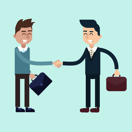 negotiations: Two Businessmen on the Negotiations. Done Deal. Flat style in vector