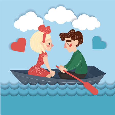 couple background: Happy Couple on the Boat. Valentines Card in Vector Illustration