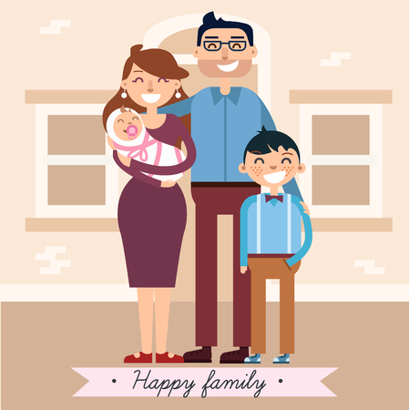 familia unida: Happy Family with Newborn Baby in vector