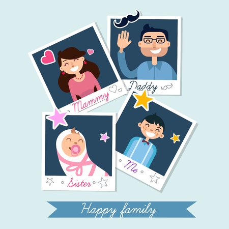 mom and son: Happy Family set of Polaroid Photo Frames in vector Illustration