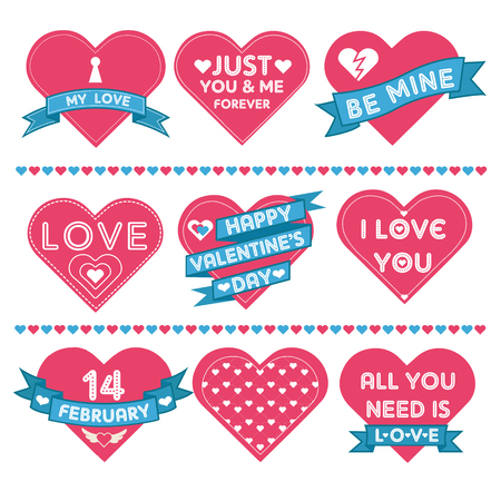 couple dating: Set of Hearts for Valentines Day Celebration in Vector