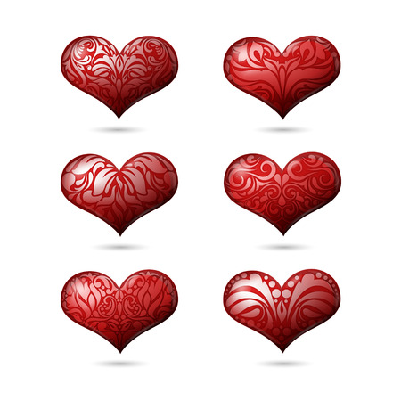 girl happy: Ornamental Hearts Set for Valentines Day in Vector
