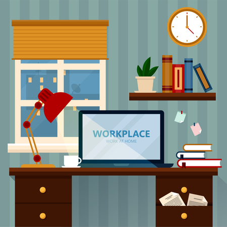 workday: Home Workspace Vector Illustration. Modern Home Office in Flat Design in vector Illustration
