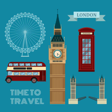 london tower bridge: London Symbols Travel Time Set in Flat Style in Vector