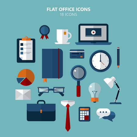 business analysis: Office Icons Set in Flat Style in vector