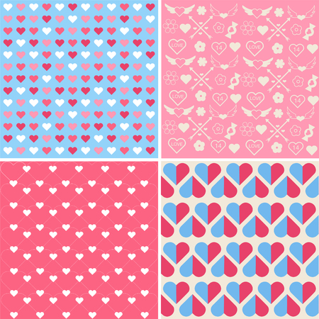 couple dating: Set of 4 Valentines Day Seamless Patterns in Vector