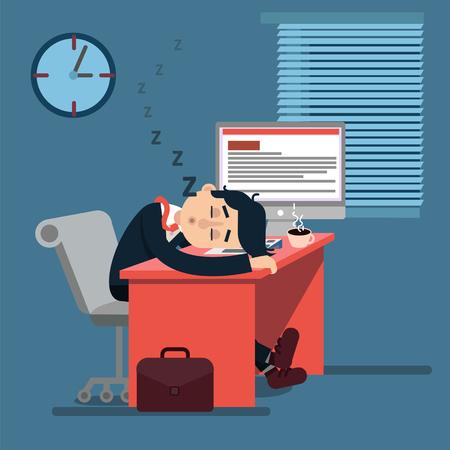 Moe Slapen zakenman op het werk. Beambte op zijn werkplek. Vector Illustratie in Modern Flat Style Stock Illustratie