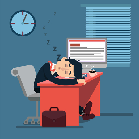 tired man: Tired Sleeping Businessman at Work. Office Worker at his Workplace. Vector Illustration in Modern Flat Style