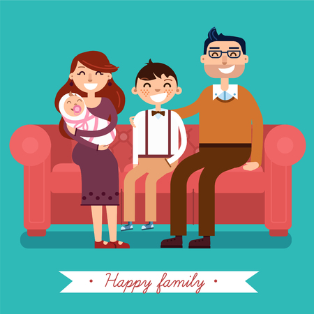 love mom: Happy Family with Newborn Baby in flat style in vector. Mother, Father, Son and Newborn Baby on sofa