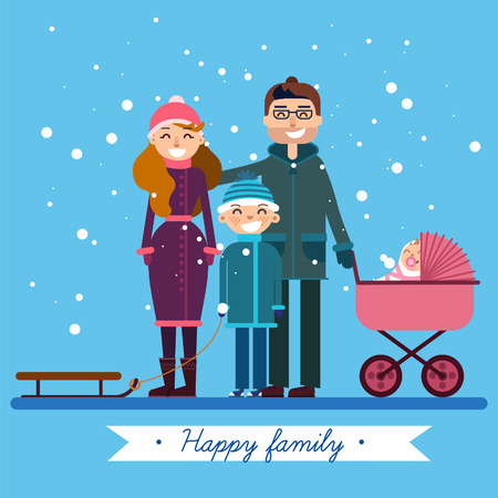 family holiday: Happy Family with Newborn Baby on Winter Holiday. Vector illustration in flat style Illustration
