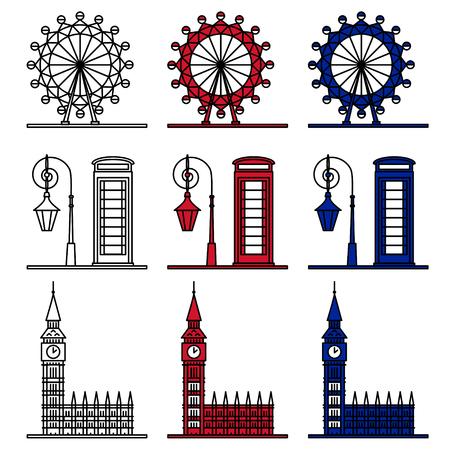cabina telefonica: S�mbolos Londres Set - London Eye, el Big Ben, la cabina de tel�fono. Conjunto de iconos del vector en estilo de esquema
