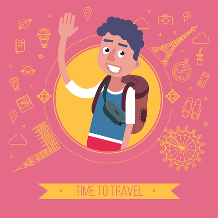 travel card: Time To Travel Card with Tourist and Famous Historical Places. Vector illustration in flat style