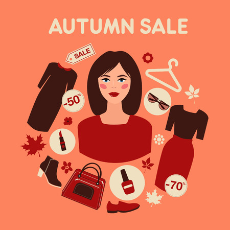 autumn woman: Shopping Autumn Sale in Flat Design with Woman. Accessories, Clothing and Fashion Elements