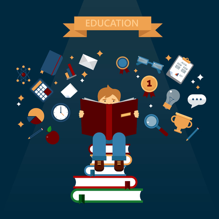 searching: Concept of Education with Reading Books. Boy Learning. Vector illustration in flat style Illustration