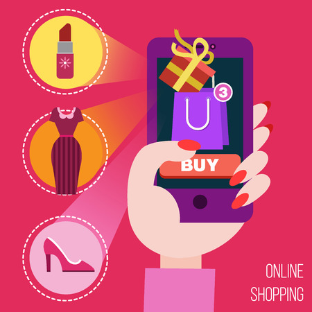 mobile marketing: Online Shopping Concept in Flat Design. E-commerce, pay online, mobile marketing in vector