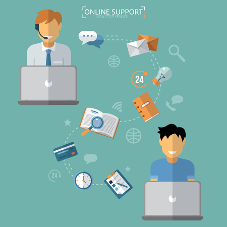 call center: Concept of Technical Online Support. Computer Remote Nonstop Support Service. Vector illustration in flat style