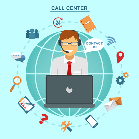 Concept of Technical Online Support Call Center. Computer Remote Nonstop Support Service. Vector illustration in flat style Çizim
