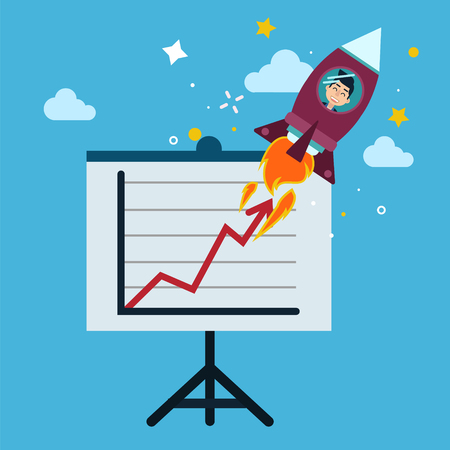 achievment: New Business Project Startup Concept Design with Rocket in flat style. Modern illustration in vector Illustration
