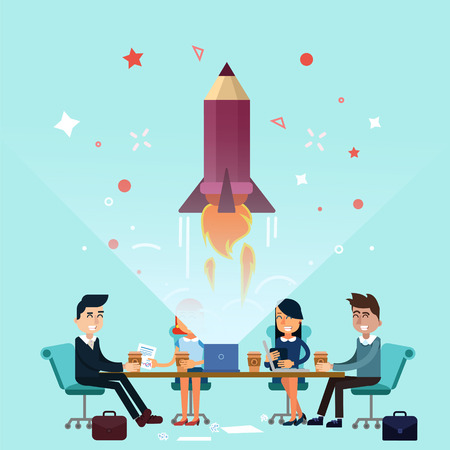 successfull: Business Project Startup Concept Design. Business Meeting, Successfull Startup. illustration in flat style Illustration