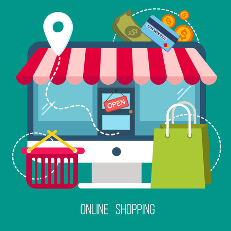 credit card business woman: Online Shopping Concept in Flat Design. E-commerce, pay online, mobile marketing