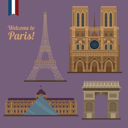 dame: Paris Travel Set. Famous Places - Eiffel Tower,  Notre Dame, Arc of Triomphe. illustration in flat style Illustration