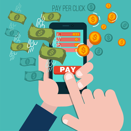 pay phone: Pay Per Click Mobile Advertising Concept. illustration in flat style with Human Hands and Mobile Phone