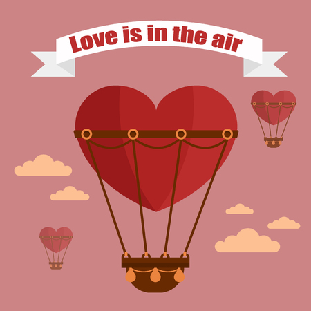 air baloon: Happy Valentines Day Greeting Cards. Air Baloon, Present with Love, Cupcake and Whale. illustration in flat style