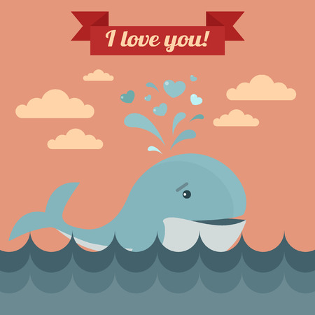 baloon: Happy Valentines Day Greeting Cards. Air Baloon, Present with Love, Cupcake and Whale. illustration in flat style