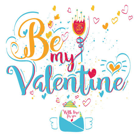 enamorados caricatura: Tarjeta de felicitaci�n del d�a de San Valent�n. Letras Be My Valentine