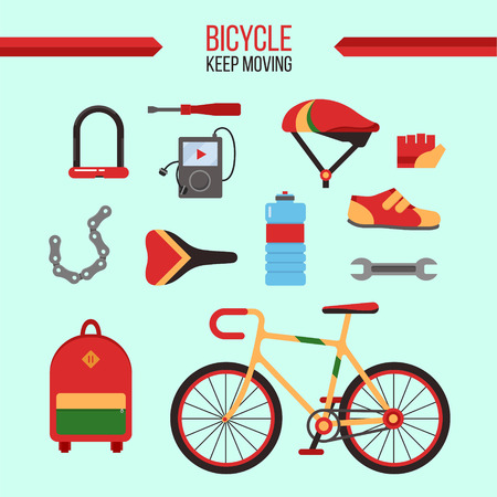 moving in: Bicycle Kit Keep Moving. City Bicycle with Accessories for Healthy Lifestyle. Vector illustration in flat style