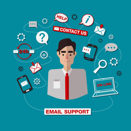 technical: Technical Email Support Service with Man. Online Service. Vector illustration in flat style