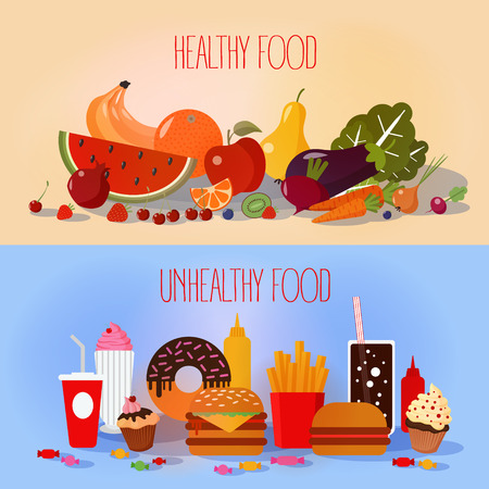 Healthy Food and Unhealthy Fast Food. Fruits and Vegetables or Fast Food and Sweets? Vector illustration in flat style