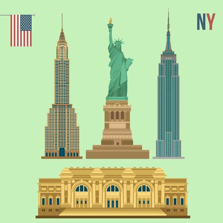 ニューヨークの有名なビルのセット: 自由、メトロポリタン美術館、エンパイア ステート ビルディング、クライスラー ビルの像