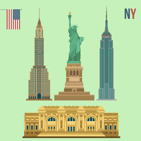 뉴욕의 유명한 건물의 집합 : 자유의 여신상, 메트로폴리탄 미술관, 엠파이어 스테이트 빌딩, 크라이슬러 빌딩 일러스트