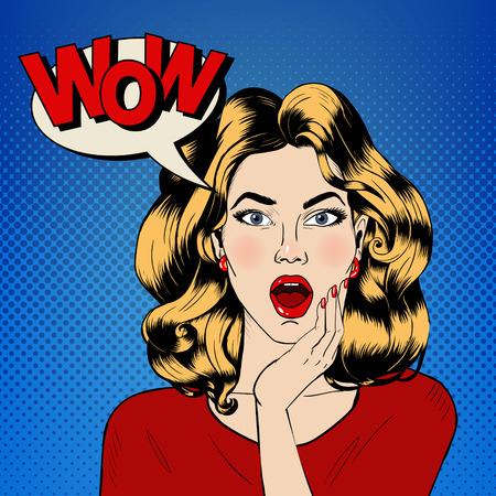 バブルとコミック スタイルの表現すごい女性は驚いた。ベクトル図  イラスト・ベクター素材