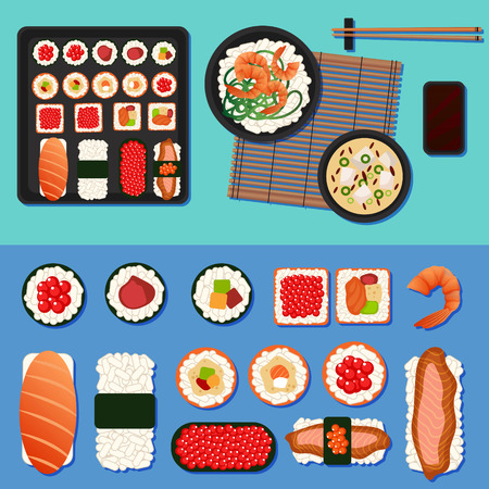 Sushi Set with Different Rolls, Soup and Rice. Vector illustration in flat style Vektorové ilustrace