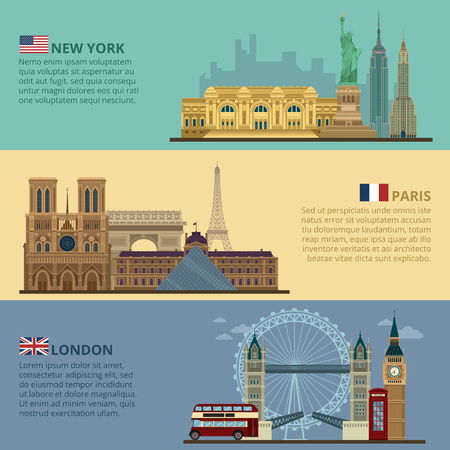 empire state building: Set of Horizontal Travel Banners - New York, Paris and London. Each City is represented in its Famous Buildings. Vector illustration in flat style Illustration