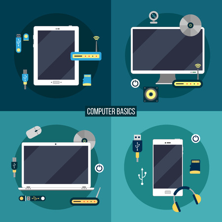 basics: Computer and Electronic Basics: Laptop, Computer, Smart Phone, Tablet and Accessories. Vector illustration in flat style