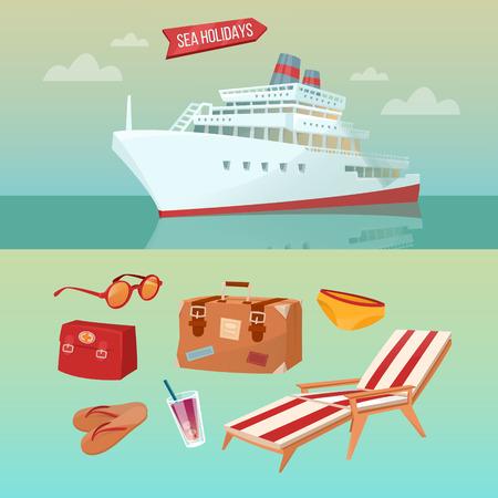Sea concetto di vacanze con la nave da crociera e Summertime elementi: bagaglio, Occhiali da sole, Coctail, infradito. illustrazione di vettore Vettoriali