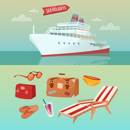 Sea Holidays Concept with Cruise Ship and Summertime Elements: Baggage, Sunglasses, Coctail, Flip-Flops. Vector illustration